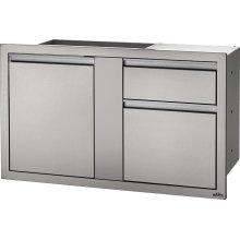 "42"" X 24"" Large Door & Waste Bin Drawer and Waste Bin Drawer , Stainless Steel"