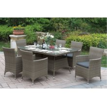 219 / Liz.p17- 7PC OUTDOOR PATIO TABLE SET [P50270(1)+P50132(6)]
