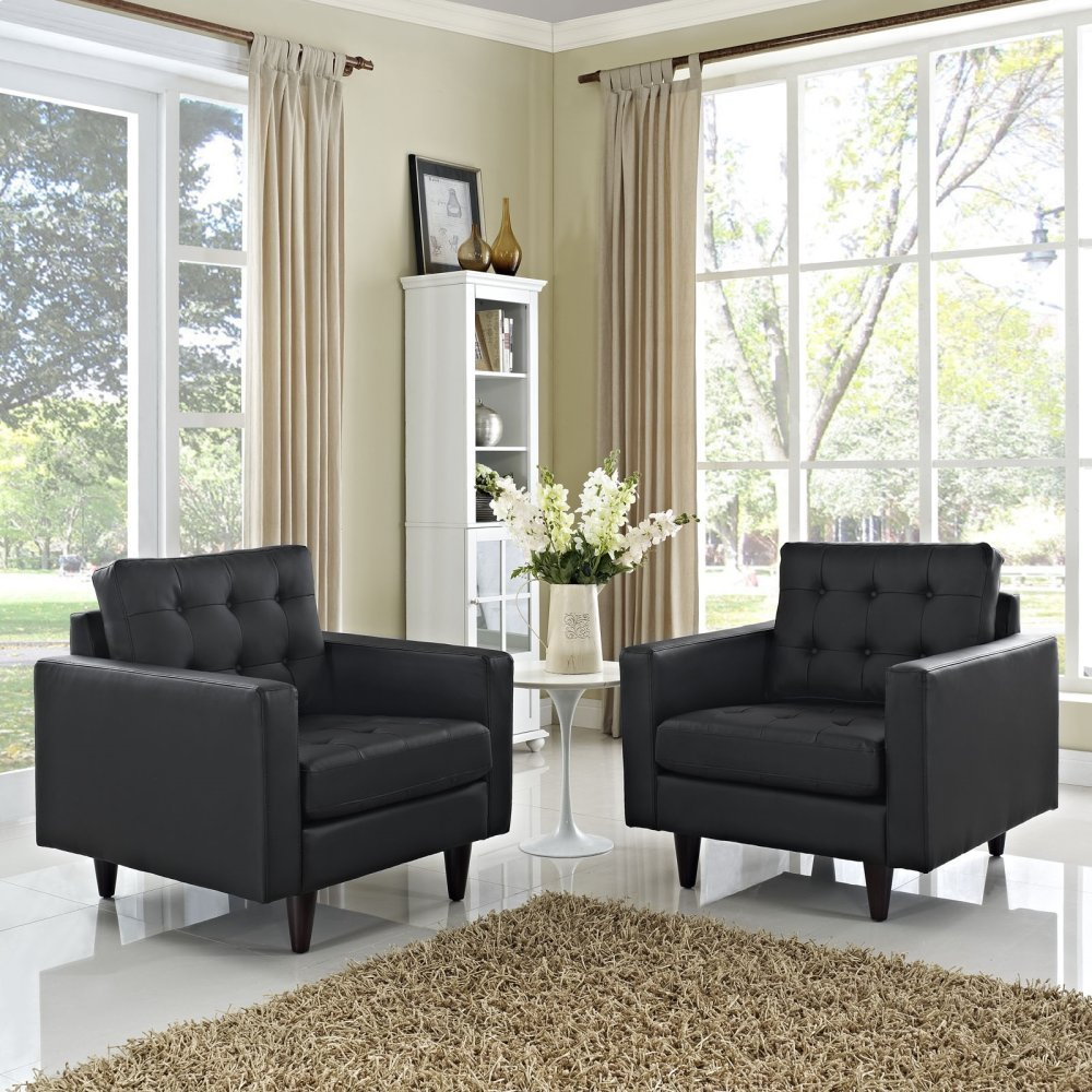 Empress Armchair Leather Set of 2 in Black