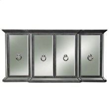 CRESTMONT SIDEBOARD  Distressed Dark Gray Finish on Hardwood with Plain Finish Beveled Mirror  4 D