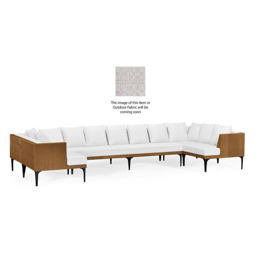 Tan Rattan Outdoor Sectional Sofa Set, Upholstered in Standard Outdoor Fabric