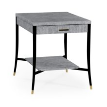 White Smoke Eggshell End Table with Drawer