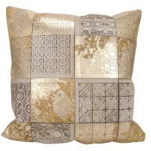 """Couture Nat Hide S6078 Beige/gold 20"""" X 20"""" Throw Pillow"""