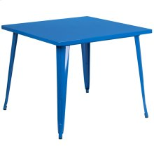 """Commercial Grade 35.5"""" Square Blue Metal Indoor-Outdoor Table"""