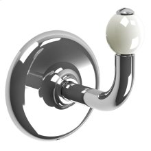 Single robe hook with white ceramic acorn