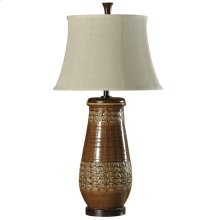 L37194  Ceramic Table Lamp in Hamden Finish Natural Linen Shade