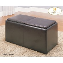 Rectangular Storage Ottoman with 2 Stools and 2 Trays, Brown polished Microfibre
