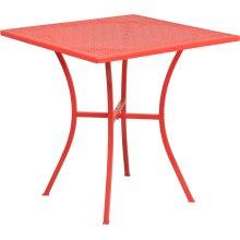 "Commercial Grade 28"" Square Coral Indoor-Outdoor Steel Patio Table"