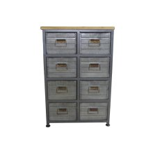 8 Drawer Accent Cabinet-galvanized Board Drawer Front-antique Black Finish -su