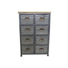 8 Drawer Accent Cabinet-galvanized Board Drawer Front-antique Black Finish -su