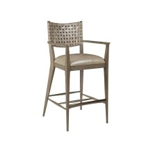 Grigio Milo Leather Barstool