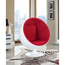 Kaddur Fiberglass Lounge Chair in Red