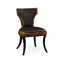 Art Deco High Lustre Santos Side Chair, Upholstered in Dark Chocolate Leather
