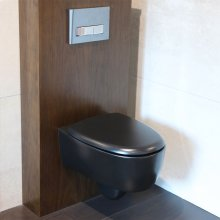 Wall-hung porcelain toilet for concealed flushing system ( Geberit #GE 111335005). Includes a soft-closing seat cover.