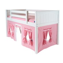 Under Bed Curtain : Soft Pink/White