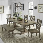 6 Piece Trestle Table Set