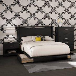 4-Piece Bedroom Set - Pure Black