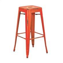 """Bristow 30"""" Antique Metal Barstool, Antique Orange Finish, 2 Pack"""