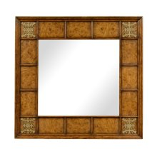 Square walnut & burl oak mirror