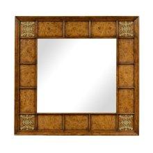 Square walnut & burl oak mirror