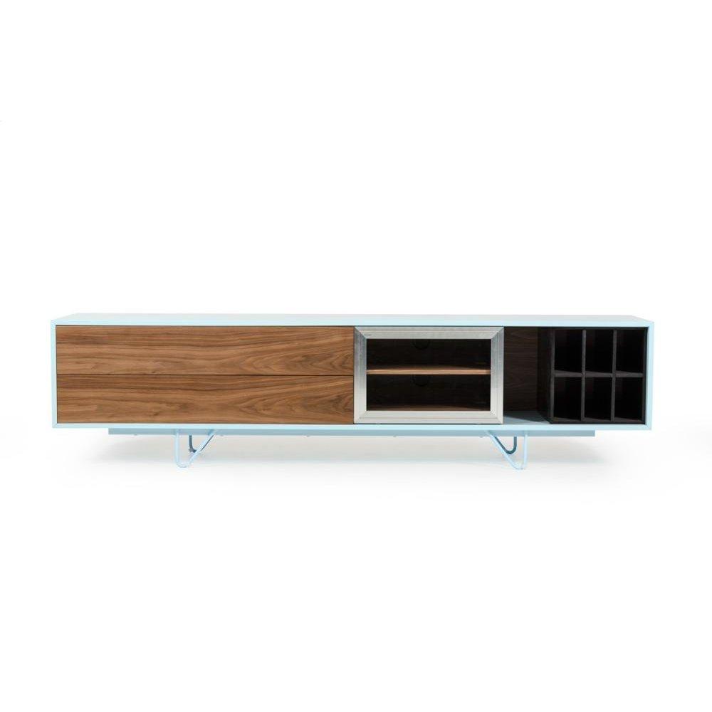 Modrest Aegean Modern Walnut and Teal TV Stand