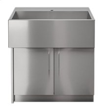 "OUTDOOR KITCHEN CABINETS IN STAINLESS STEEL  PURE 36"" Sink Cabinet SocialCorner 2 doors Left"