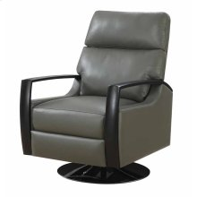Recliner Swivel Leather Gray Black Base Kd