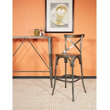 """42"""" Matte Industrial Steel Counter Height Table With Ash Wood Top"""