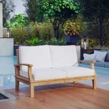 Marina Outdoor Patio Teak Loveseat in Natural White