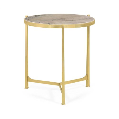 Polished solid brass lamp table with Blanco Equador top (Large)