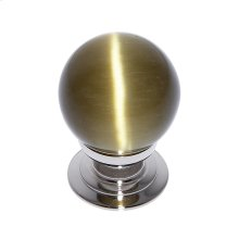Polished Nickel 30 mm Amber Cat's Eye Knob
