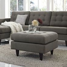 Empress Upholstered Fabric Ottoman in Granite