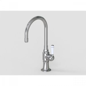 """Brushed Stainless - 7"""" Swivel Deck Mount Single Hole Bar Faucet Spout with Right White Ceramic Traditional Lever Product Image"""