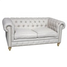 Tufted Linen Loveseat