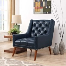 Peruse Faux Leather Armchair in Blue
