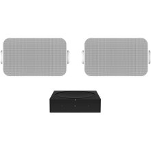Black- A pair of weatherproof speakers and powerful amplifier for listening outdoors.