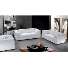 Divani Casa Dublin - Modern Leather Sofa Set with Acrylic Crystals