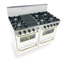 "48"" All Gas Range, Open Burners, White with Brass Trim"
