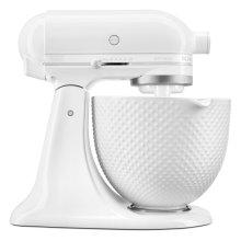 Artisan® Series Tilt-Head Stand Mixer with 5 Quart Ceramic Hobnail Bowl - White-on-White
