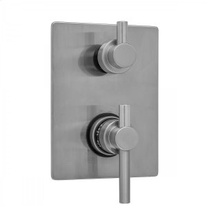 Antique Brass - Rectangle Plate with Contempo Peg Lever Thermostatic Valve with Contempo Short Peg Built-in 2-Way Or 3-Way Diverter/Volume Controls (J-TH34-686 / J-TH34-687 / J-TH34-688 / J-TH34-689) Product Image