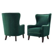 "Rosco Velvet Accent Chair w/ Brass NH Green 30""x36""x42"""