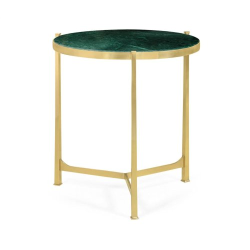 Polished solid brass lamp table with Green Napoly top (Large)