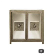 ANDES CABINET  Silver Leaf Finish on Wood with Antique and Plain Finish Beveled Mirror  2 Door
