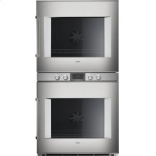 "400 series 400 series double oven Stainless steel-backed full glass door Width 30"" (76 cm) Right-hinged Controls centered"