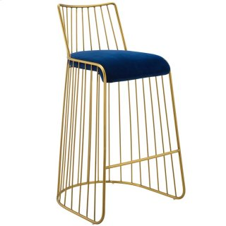 Rivulet Gold Stainless Steel Upholstered Velvet Bar Stool in Gold Navy