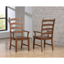 DLU-BR-C80A-AM  Ladder Back Dining Arm Chair  Set of 2  Amish Brown