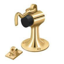Floor Mount Bumper w/ Holder, Solid Brass - PVD Polished Brass