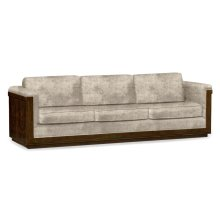 110'' Antique Mahogany Brown High Lustre Sofa, Upholstered in Calico Velvet