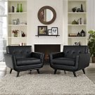Engage Leather Sofa Set in Black Product Image