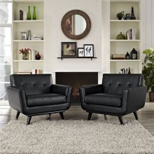 Engage Leather Sofa Set in Black